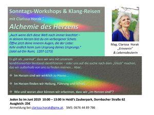 Sonntags-Workshops & Klang-Reisen mit Clarissa Horak: Alchemie des Herzens @ Heidi´s Zauberpark