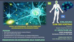 Einladung zum CBD-Vortrag am 4.7.2019, 19.00 Uhr, mit der Vortragenden Brigitte Nada Élisa Korinek @ Heidi´s Zauberpark