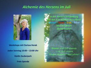 Alchemie des Herzens im Juli 2019 - Workshops mit Clarissa Horak @ Heidi´s Zauberpark