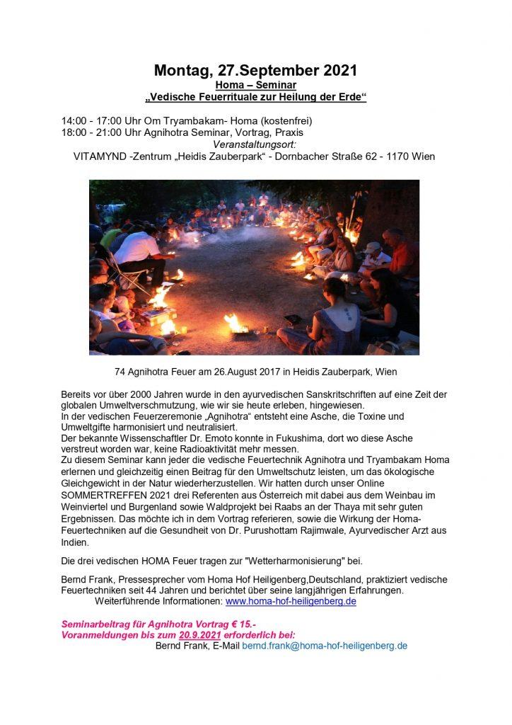 Homa Seminar - Vedische Feuerrituale zur Heilung der Erde